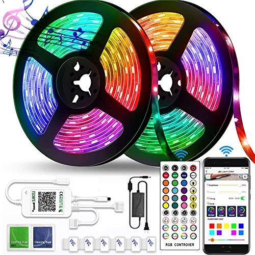 Creativity Led Strip Lights 10M para Dormitorio Smart WiFi RGB Light Strips Funciona con Alexa Asistente de Google Control Remoto de la aplicación de Voz Música Sync Cuerda Cambio de Color de la luz