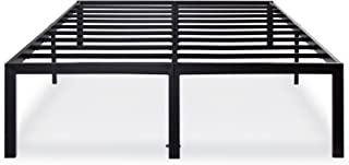 Olee Sleep 18 Inch Tall Heavy Duty Steel Slat/ Anti-slip Support/ Easy Assembly/ Mattress Foundation/ Maximum Storage/ Noise Free/ No Box Spring Needed, Black