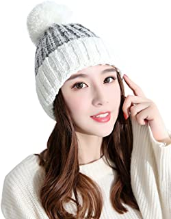 Urban CoCo Women's Winter Knitted Warm Bilayer Beanie Hat with Faux Fur Ball