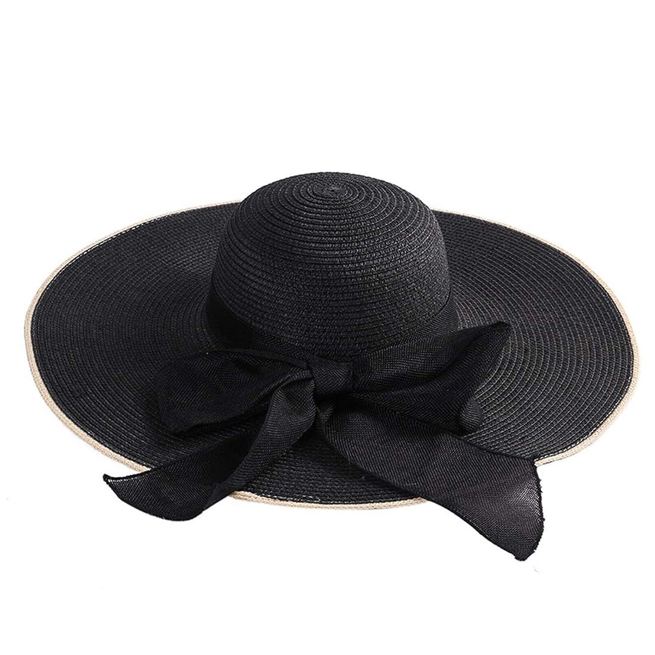 バスト一般化する不快日よけ 弓無地麦わら帽子の女性の夏の旅行日曜日の帽子 おしゃれ (色 : 黒)