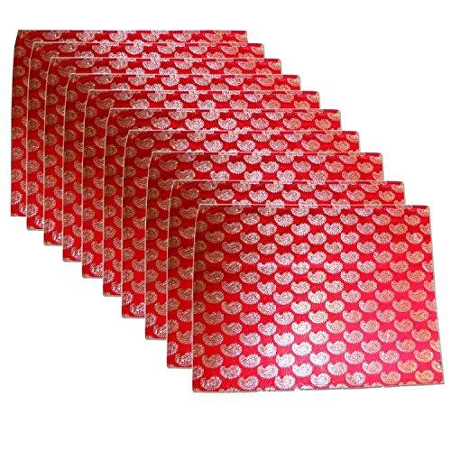 Kouber Industries Brocade Sari Coque Lot de 10 pcs (Rouge)