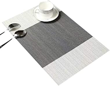 HONRICH Placemats for Dining Table Placemats Set of 6 Washable Place Mats for Kitchen Table Heat-Resistant Table Mats Non-Sli