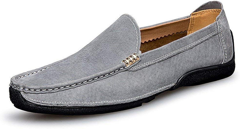 FuweiEncore Herren Mokassins Schuhe, Herren Driving Loafers Loafers Handarbeit Suture Wildleder Echtes Leder Penny Boat Mokassins (Farbe   Blau, Größe   39 EU) (Farbe   Grau, Größe   43 EU)  willkommen zu wählen