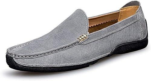 Oudan Chaussures pour Homme 2018, 2018, Chaussons pour Homme, Suède, Mocassins Penny démarrage, Cuir, Noir, UK 8   EU 42 (Couleuré   gris, Taille   UK 7 EU 40)