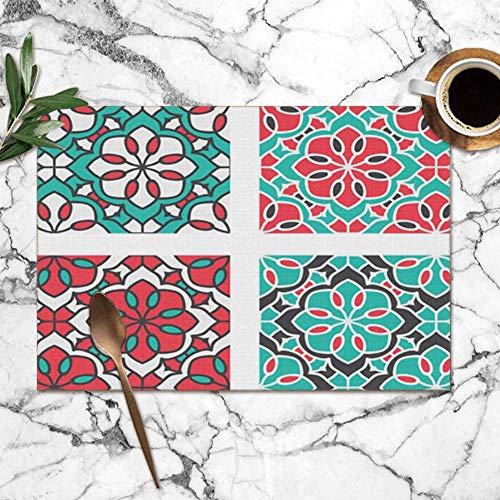 Juego de manteles individuales de 6, juego de adornos etnicos circulares Manteles individuales resistentes al calor abstractos Alfombrillas lavables para mesa de comedor de cocina