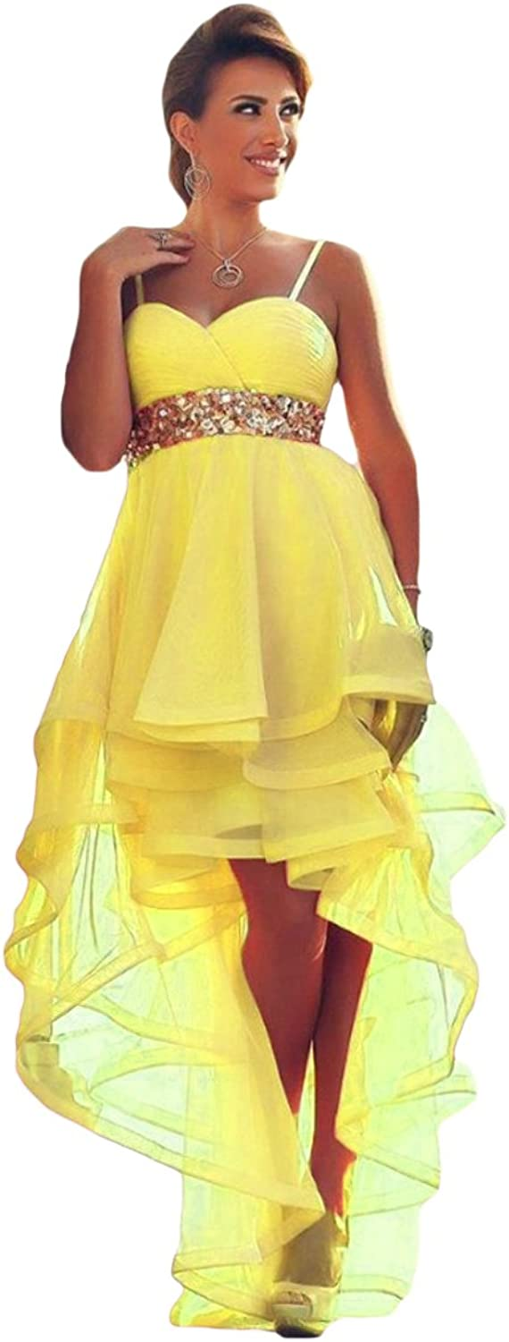 Liyuke High Low Prom Homecoming Dresses Beaded Vintage Party Gowns for Women