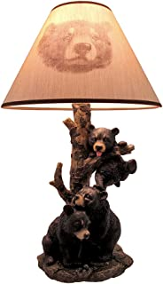 Black Bear Family Table Lamp W/Tree Bark Print Shade