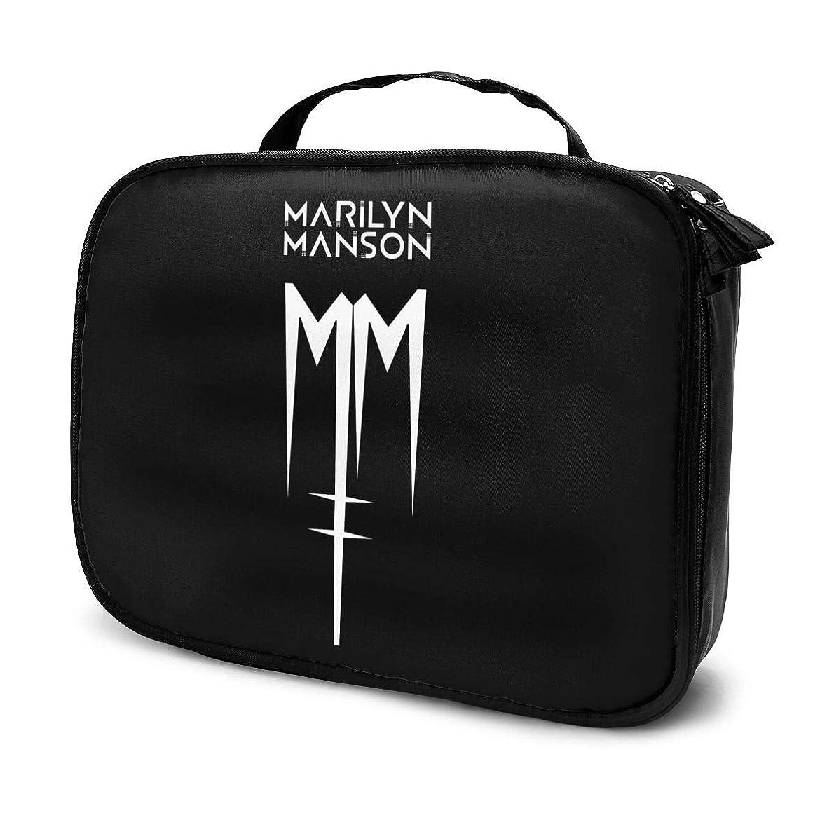 追加する葉を拾う投資するメイクボックス プロ用 Marilyn Manson マリリンマンソン ロゴ メイクポーチ 化粧ポーチ コスメケース トイレタリーバッグ トラベルポーチ 旅行外出 携帯用 防水設計 高級感 小物収納 バッグインバッグ グッズ レディース メンズ