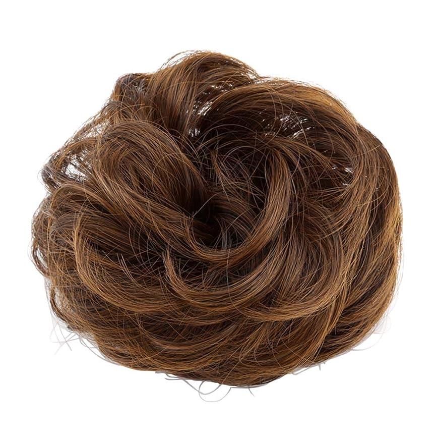 直径お酢禁止する弾性ヘアバンド短い髪型ツール偽の髪のバンズ結婚式ヘアピース(ブロンド)