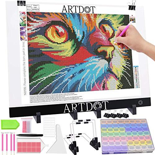 ARTDOT A3 Tablette Lumineuse pour Broderie Diamant, Luminosité Réglable Table Lumineuse Dessin avec Diamond Painting Accessoires