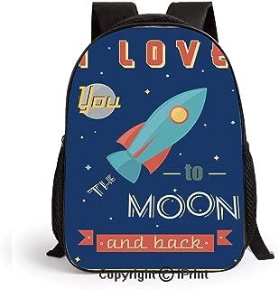 Preschool Backpack for Kids Girls Toddler Spaceship Galaxy Stars Cosmos Love Theme Retro Inspirational Letters Kindergarten School Bookbags,Dark Blue and Coral