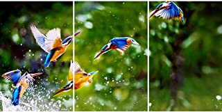 SAF Set of 3 Beautiful flying Birds UV Textured wall painting for living room 27 Inch X 12 Inch Painting SANFC32142