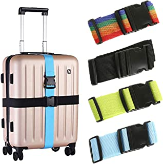 Blue DSRG Luggage Strap Canadian Design Adjustable Travel Luggage Baggage Suitcase Bag Packing Strap Secure Belt Bonus of 2X Keychain and 2X Luggage Tags by