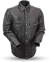 First Mfg Co FIM403ES-Black-L-Milestone Black Large Men's Milestone Motorcycle Leather Shirt