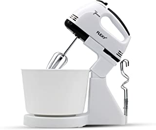 FLEXY® Germany Turbo 7 Speed 250W Hand Mixer With 2 Beaters, 2 Dough Hooks And 2L Bowl - 2 Years Warranty