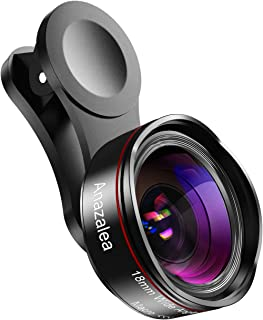 Phone Camera Lens for iPhone and Android, Wide Angle & Macro Lens (Screwed Together) Cell Phone Lens for iPhone X XR XS Max 8 7 6S Plus Samsung S9 S8 and Android Phone with Travel Csae (Black)