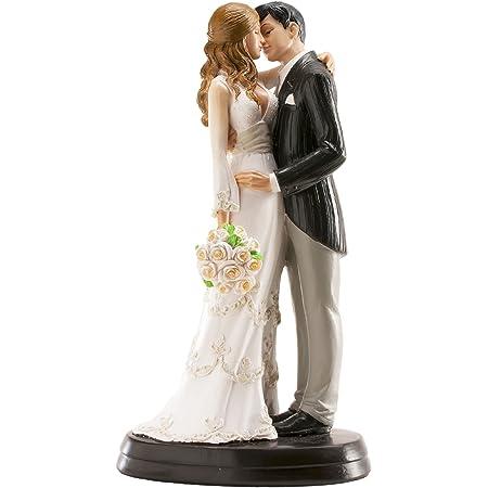 Dekora - 305058 Figurine Mariage 3D Couple Marié se Donnant un Bisou, 18cm