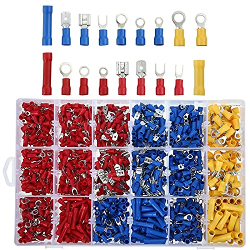 MGGi 1200Pcs Insulated Wire Electrical Connectors, Wire Crimp Connectors Terminals Kit with Ring, Spade, Butt, Quick Disconnect, Piggy Back, Bullet Connector, Automotive Cable Terminals Assortment Kit