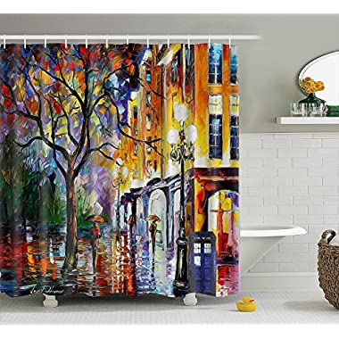 "Authorized from the Artist, Leonid Afremo the Painting ""Rain in Miami"" Doctor Who Tardis Polyester Waterproof Shower Curtains with 12pcs Hooks (60x72 inches)"