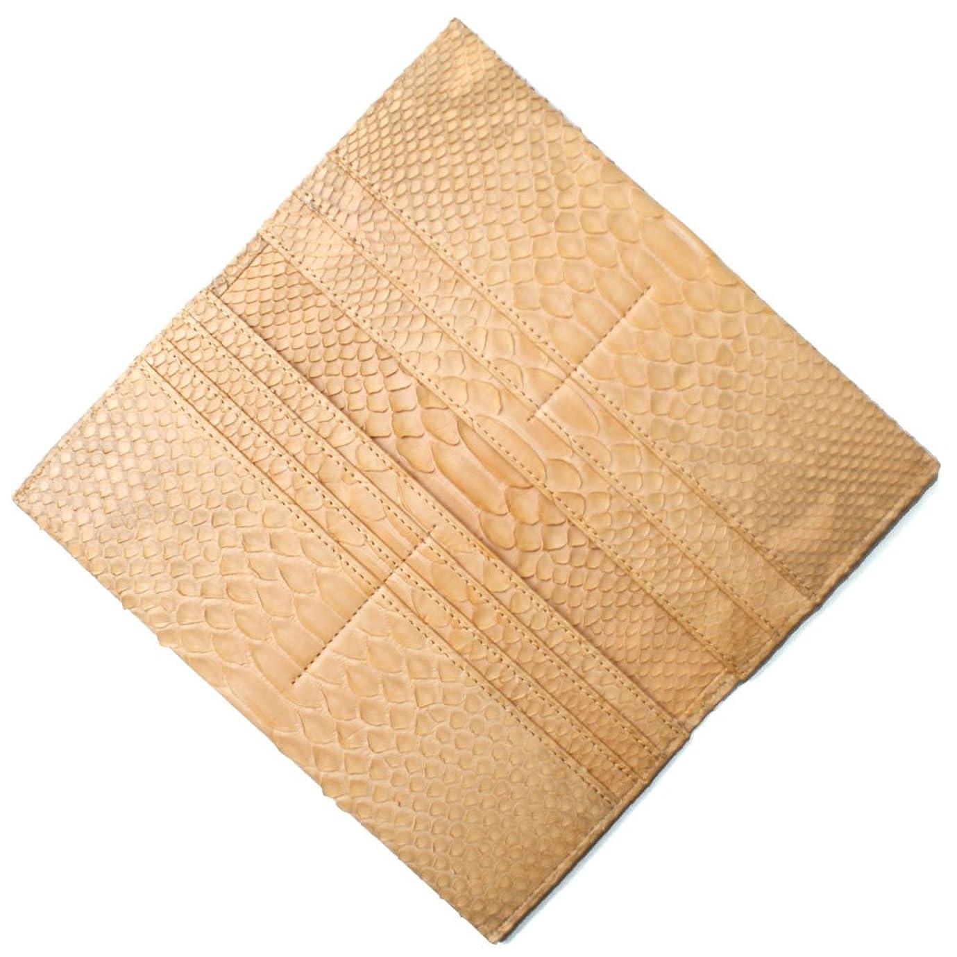 利益煩わしい評価可能MT1077-ORANGE パイソン革「蛇革」 マチなし長財布「小銭入れ無し」-マット:オレンジ