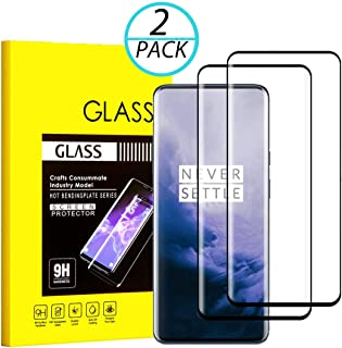 OnePlus 7 Pro Screen Protector, Tempered Glass Screen Protector 9H Hardness, Case Friendly, Anti-Scratch, Bubble Free, High Definition, with Easy Installation Use Guide (2PACKS)