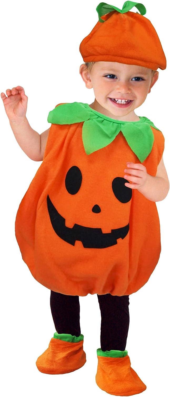 GEMVIE Disfraz Infantil de Calabaza con Sombrero para Halloween, Carnaval, Cosplay Ropa Decoración Disfraz de calabaza para Niños