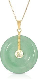 Vintage 14K 585 Yellow Gold Natural Genuine Translucent Jadeite Jade Donut Good Luck Chinese Fu Character Pendant