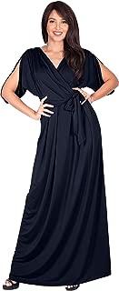 Womens Long Semi-Formal Short Sleeve V-Neck Floor Length Maxi Dress Gown