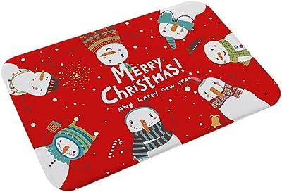 23.6 X 15.7 ' ' Christmas Doormat Welcome Door Mat Entry Way Rug Santa Snowman Tree Pattern Floor Mat Home Carpets For Christmas Indoor Outddor Decor-Washable Non-Slip(B) 80x50cm