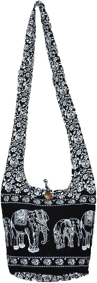 Thai Hippie Hobo Sling Crossbody Shoulder Bag Purse Handmade Black Elephant Gypsy Boho Medium M977