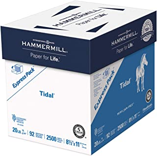 $25 » Hammermill Printer Paper, Tidal 20 lb Copy Paper, 8.5 x 11 - Express Pack (2,500 Sheets) - 92 Bright, Made in the USA