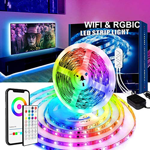 WiFi LED Strip Lights 16.4 Ft RGBIC Music Mode Light Strip with Remote Alexa Google Home App Control for Bedroom Kitchen Party Living Room Christmas Lights