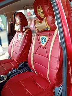 Iron Man Auto Seat Covers (Pair) Premium Faux Leather Black Edition