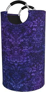 N\A Grand Panier à Linge, Sac à vêtements en Tapisserie damassé Bleue, Panier Pliable en Tissu 82L, bacs de Lavage pliants...