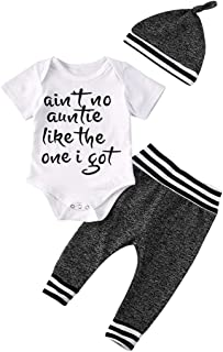 Newborn Baby Girl Clothes Aunties Sayings Top Printed Romper Striped Pants+Short Sleeve Outfit Set
