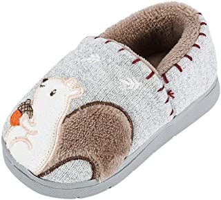Children Cute Hairy Slippers - Toddler Boys Girls Fashion Shoes Warm Cute Animal Squirrel Print Kid Home Slipper - Baby Shoes Booties Boots Sport Shoes Cotton Boots Sneakers for 0-5 Year Old