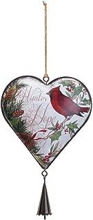 DEMDACO Cardinal Heart 5 x 8 Inch Metal Hanging Christmas Ornament