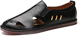 Wangqianli Summer Outdoor Sandals For Men Beach Water Shoes Slip On Microfiber Leather Elastic Bands Stitching Summer Leather Shoes Breathable Cutout (Color : Black, Size : 47 EU)