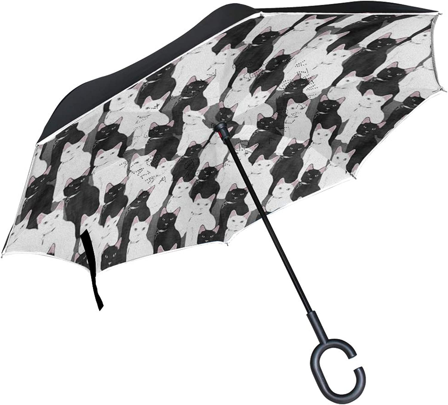 Gaz X Black and White Cats Ingreened Umbrella Double Layer Windproof UV Predection Large Upside Down Straight Umbrella for Car Rain with CShaped Handle