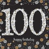 Amscan 5018738 Party Supplies Sparkling Celebration 100 Beverage Napkins, One Size, Multi Color