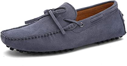 Soft Daily Easeful Drive Loafers for Men Suede Boat Moccasins with Lace up Tie Deck Shoes Slip on Real Leather Anti Slip Studs Soles Stiching Wide Casual