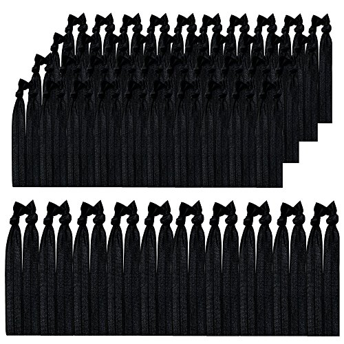 Syleia Pack of100 Hair Ties Black, Elastic Ribbon, Ponytail Holders, Hand Knotted, Fold Over, Ouchless, No Metal