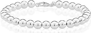 925 Sterling Silver Italian Handmade 6mm Bead Ball Strand Chain Bracelet for Women 7, 7.5, 8 Inch Made in Italy