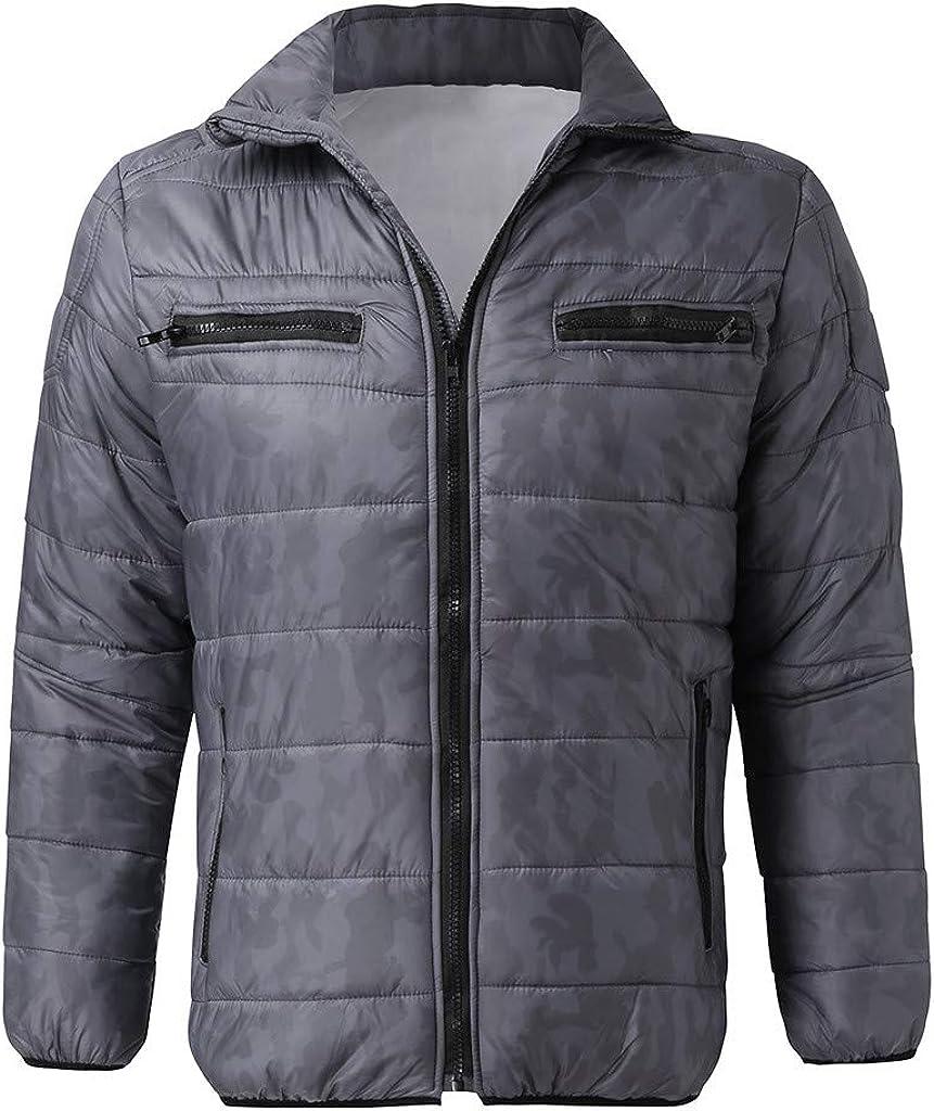 djdjdj Men's Coats Winter Polyester Mens Autumn Winter Zipper Camouflage Warm Jacket Packable Light Coat