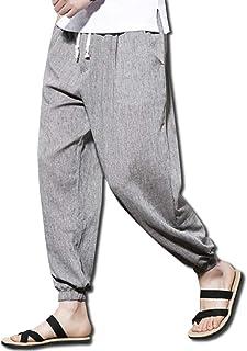 [ボルソ] サルエル 麻 ワイド パンツ カジュアル メンズ (ブラック、ブルー、グレー、ライトグレー) L ~ XXXL