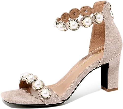 Sandales à lanières pour Femmes bloquent Les Talons Talons mi-Hauts  abordable