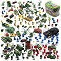 JaxoJoy 200-Piece Army Men Military Set - Cool Mini Action Figure Play Set w/ Soldiers, Vehicles, Aircraft & Boats - Pretend WWII Army Base & Military Toy Figurines for Boys by Amusty inc.