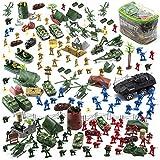 Jaxojoy 200 Stück Army Men Military Set - Coole Mini Action Figur Spielset mit Soldaten Fahrzeuge Flugzeug Boote Pretend WWII Army Base & Military Spielzeug Figuren für Jungen