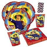 Amscan/Hobbyfun Juego de 44 piezas para fiesta de Sam el bombero, platos, vasos, servilletas, pajitas de papel para 8 niños