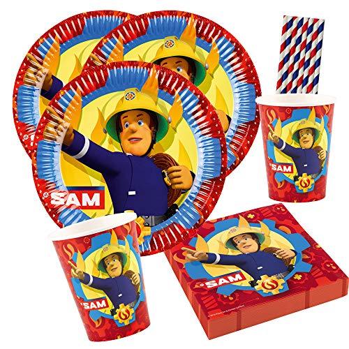 Amscan/Hobbyfun 44-teiliges Party-Set - Feuerwehrmann Sam Teller Becher Servietten + Papiertrinkhalme für 8 Kinder